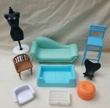 Lot of 9 Barbie Doll Furniture & Pieces Accessories couch chairs dog beds more