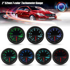 "Universal 2"" 52mm 7 Color LED Car 0-8000 RPM Tachometer Tacho Gauge Meter 12V"