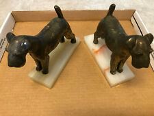 Vintage Airedale Irish Terrier Dog Bookends Solid Brass Marble Onyx Base Artdeco