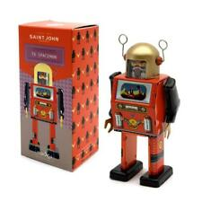 "TV SPACEMAN ROBOT 5"" Saint St. John Wind Up Tin Toy Collectible Retro Space Age"