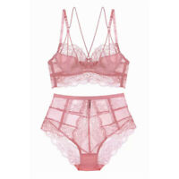 Women's Sexy Lingerie Set Lace Hollow Unlined Bra and Hight Waist Panty Set