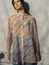 Vintage 1990s Sheer Mesh Pastel Printed Wavy Sassy Blouse Top Dress Oversized XL