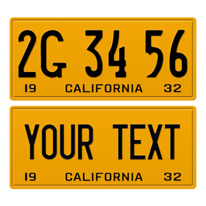 1 x Custom Personalized 1932 California License Plate with YOUR TEXT