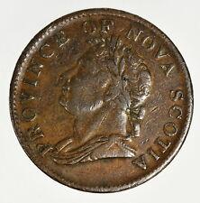 1832 Nova Scotia Half Penny Token Breton # 871 Very Fine + VF+ Condition Coin