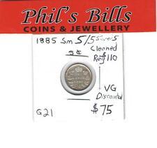 1885 SM 5/5 CLEANED 5 CENT GRADED VG $75.00 #G21