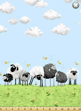 Susybee's Lewe sheep green grass border 100% cotton fabric by the yard