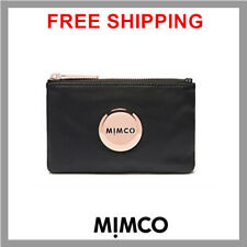 Authentic Mimco Black Leather Rose Gold Small Pouch Wallet Purse button DF