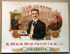 Our Leader Original Antique Cigar Box Label Art OL Schwencke Stone Lithograph NY
