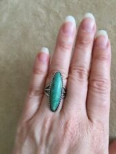 STERLING SILVER LONG TURQUOISE RING 30mm Stone SIZE 7 925
