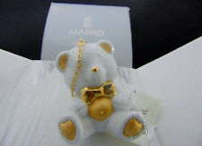 NEW Lladro TEDDY BEAR Hanging Baby Christmas ORNAMENT Figure White Gold Re-Deco!