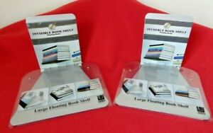 Pair of Umbra Invisible Floating Bookshelves Silver Color 20# Max Load NIP
