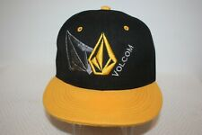 Excellent Volcom Embroidered Black Yellow Spellout Jinx Snapback Cap Hat
