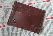 Slim brown faux leather credit card oyster soft  thin wallet ID case 7 slots