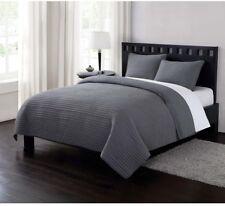 Comforter/Quilt Set Hypoallergenic Microfiber Twin XL w/ Crinkle Texture, Gray
