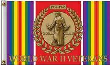 3x5 World War 2 War Veterans Veteran Ribbon 1939-1945 Flag 3'x5' Banner Grommets