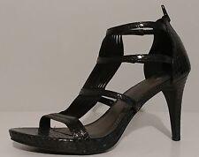 "NEW!! IMPO Black Snake Embossed Sandals 3.5"" Heels Size 8M US 38M EUR"