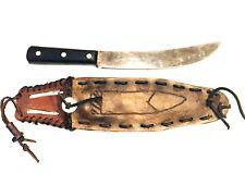 Mountain Man Style Butcher Knife W/ Custom Leather Scabbard Carbon Steel Blade