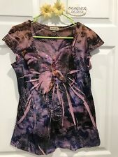 ~ONE WORLD~ Live & Let Live Short Sleeve Butterfly Design Sequin Top GUC! Large