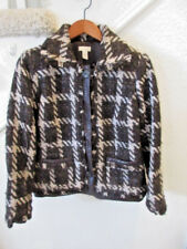 Chico's Black White Button Down Plaid Jacket Leather Trim/Fringe Chico's SZ 0 SR