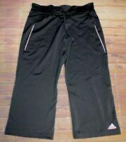 Adidas Cropped Capri Stretch Drawstring Pants Womens Medium Gray Pink Athletic