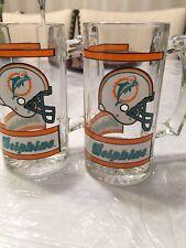 Vintage 12 Oz NFL Miami Dolphins Glass Mugs Stein Set Of 2 Beer Glasses