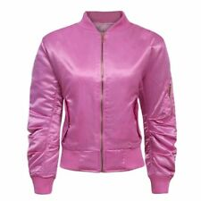 Women Ladies Satin Padded Bomber Ma1 Military Jacket Army Winter Thick Coat 8-14 UK M (12) Pink