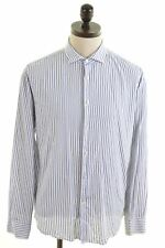 TOM TAILOR Mens Shirt Large White Striped Cotton Standard Fit  DG08
