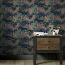 Boutique Blue / Green Tropical Jungle Glam Wallpaper