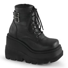 Demonia Womens Shaker-52 Black Vegan Ankle Boots Punk Goth Wedge Platform