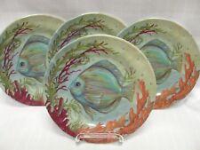 New listing Merritt Sealife Fish Salad Plates Nautical Melamine 4 Pc Outdoor Kate McRostie