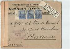 ARGENTINA 1915 STRIP OF 3 ON MILITARY CENSORED REGD COVER TO FRANCE
