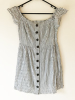 Dotti Black & White Striped Short Sleeve Shift Dress Size 10 Buttons Casual