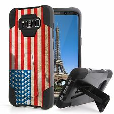 For Galaxy S8 ACTIVE Hybrid Rugged Kickstand Shock Case American Flag