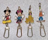 Vintage DISNEY Charms ~ Mickey Minnie Goofy Pluto ~ Key Ring? ID Holder?