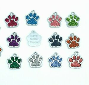 Personalised Engraved Glitter paw Pet Tags Dog Cat Charm Name Neck Collar Tag