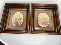 Antique AMERICAN DEEPWELL Frames PAIR Victorian Walnut Wood Boy Girl Photos