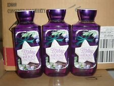 Bath and & Body Works LOT of 3 MERRY BERRY CHRISTMAS Shower Gel Body Wash 10 oz