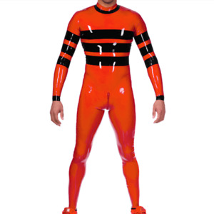 100% Latex Orange&Black Catsuit Rubber Full Cover Tights Overall 0.4mm Zip S-XXL