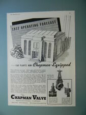 "New Listing1937 Chapman Valve Manufacturing Equipment ""Operating Forecast"" Sales Art Ad"