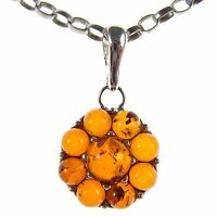 BALTIC AMBER STERLING SILVER 925 PENDANT NECKLACE SNAKE CHAIN JEWELLERY GIFT BOX