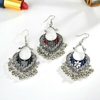 Retro Bohemian Round Enamel Beads Tassel Ear Drop Dangle Hook Earring Jewelry