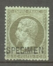 "FRANCE STAMP TIMBRE SPECIMEN N° 1 ""NAPOLEON III 1c VERT-OLIVE"" NEUF x TB SIGNE"