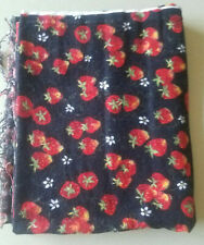 1 YARD Black Strawberry Fabric cotton material sewing quilt fruit flower