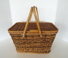 Vintage Picnic Basket Hinged Lid Wicker Rattan Wood Mid Century Modern Retro