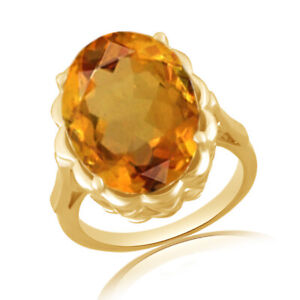 10.00 Ct Oval Cut Yellow Citrine 18K Gold Over Sterling Silver Solitaire Ring