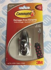 3M Command Damage Free Metal Hook Bright Chrome Finish - Holds up to 450g