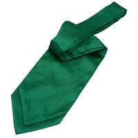DQT Satin Plain Solid Emerald Green Wedding Self-Tie Cravat