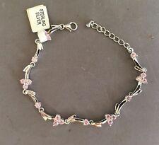 Pink Cubic Zirconia CZ Wave Link .925 sterling silver bracelet adjustable