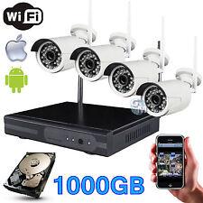 KIT DVR NVR WIRELESS WIFI 4 CANALI CH TELECAMERE HD IR REMOTO ANDROID 1000GB 1TB