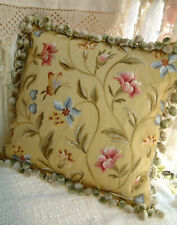 """16"""" Elegant Aubusson Design Butterfly Floral Light Gold Embroidery Pillow Case"""